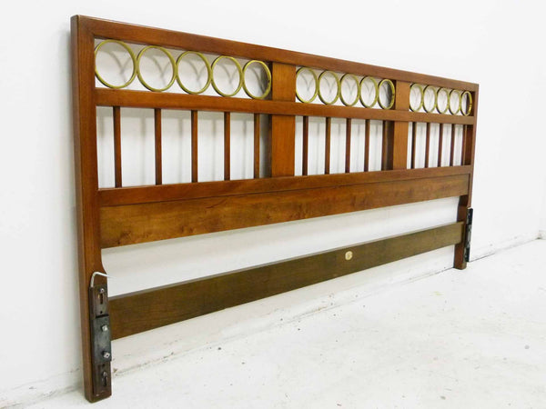 Mid Century King cherry headboard brass rings Baker Furniture 2