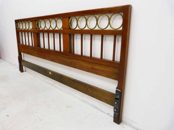 Mid Century King cherry headboard brass rings Baker Furniture 3