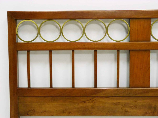 Mid Century King cherry headboard brass rings Baker Furniture 5