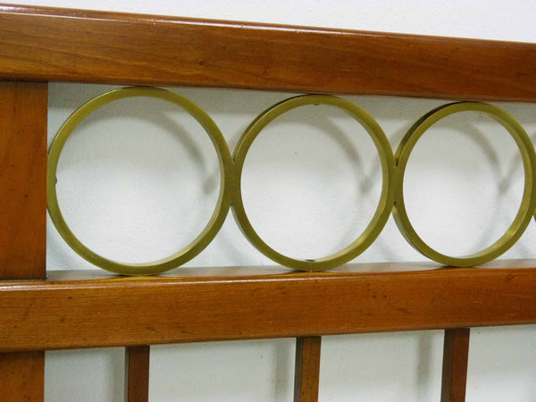 Mid Century King cherry headboard brass rings Baker Furniture 6