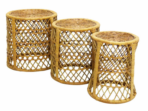 Mid-Century Bamboo Rattan Stacking Tables Three