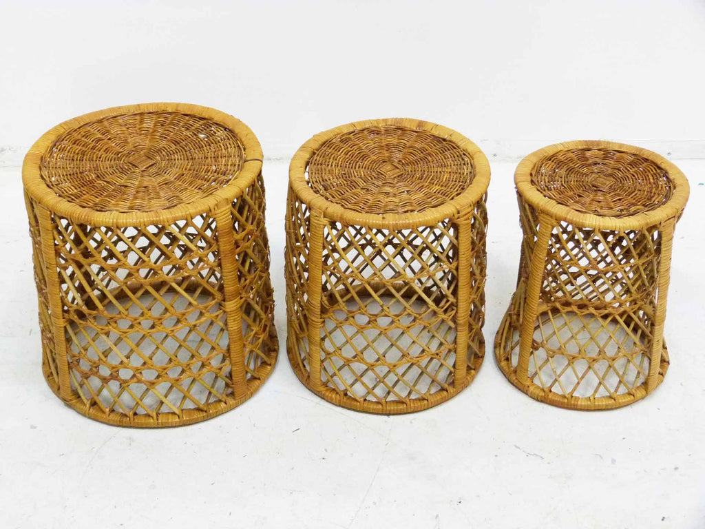 Mid Century Bamboo Rattan Stacking Tables Front