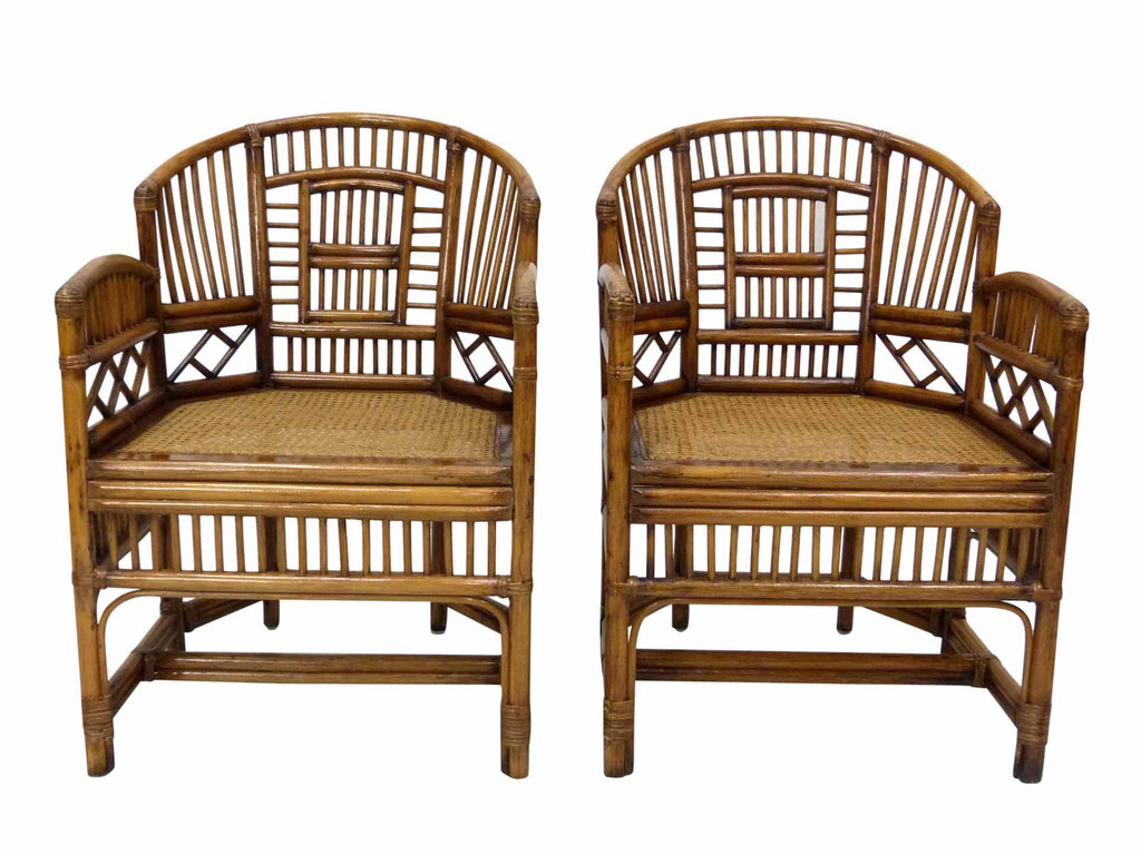 Ordinaire Indonesian Bamboo U0026 Cane Fretwork Arm Chairs 1