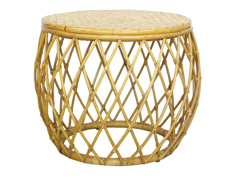 Bamboo Rattan Round Drum Vintage Side Table Img 1