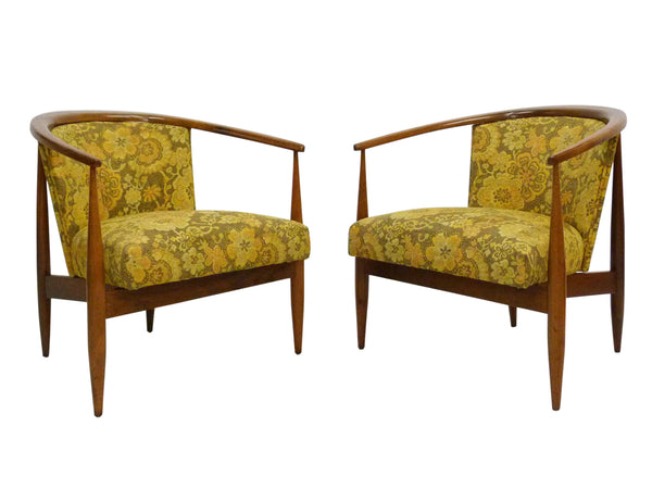 Mid Century Walnut Frame Barrel Lounge Chairs Front Angle