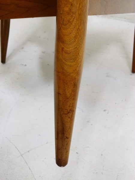Mid Century Walnut Frame Barrel Lounge Chairs Leg Scratch