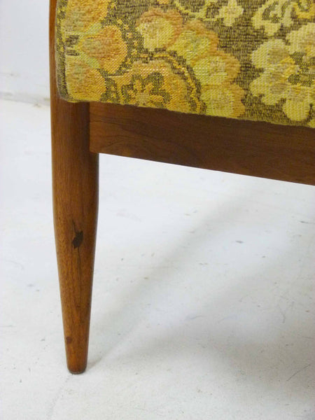 Mid Century Walnut Frame Barrel Lounge Chairs leg