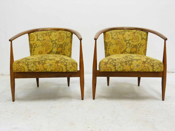 Mid Century Walnut Frame Barrel Lounge Chairs Front