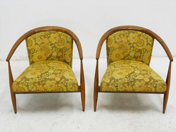 Mid Century Walnut Frame Barrel Lounge Chairs Top