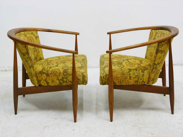 Mid Century Walnut Frame Barrel Lounge Chairs Side
