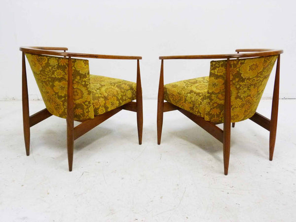 Mid Century Walnut Frame Barrel Lounge Chairs back Angle