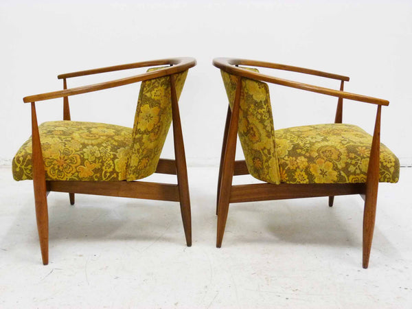 Mid Century Walnut Frame Barrel Lounge Chairs Left Side