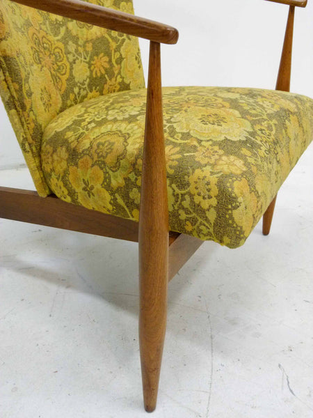 Mid Century Walnut Frame Barrel Lounge Chairs Detail