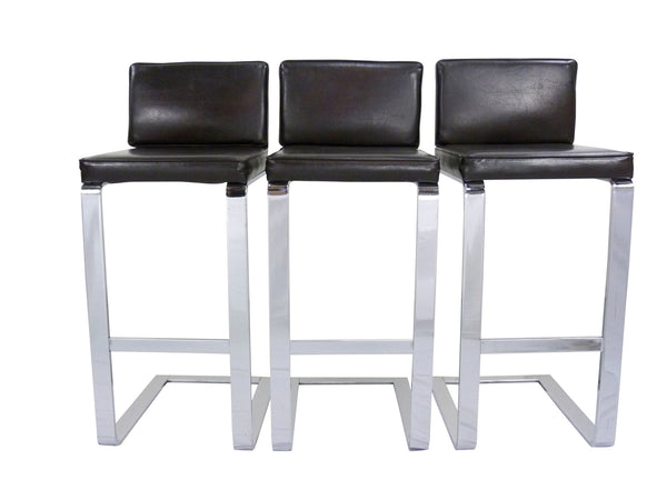 Milo Baughman Chrome Bar Stools Vintage Pace Collection Img 1