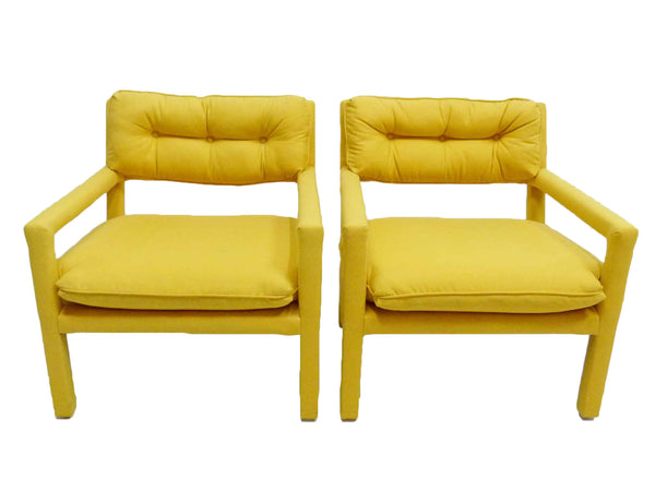 Yellow parson armchairs Milo Baughman Thayer Coggin Upholstered Front