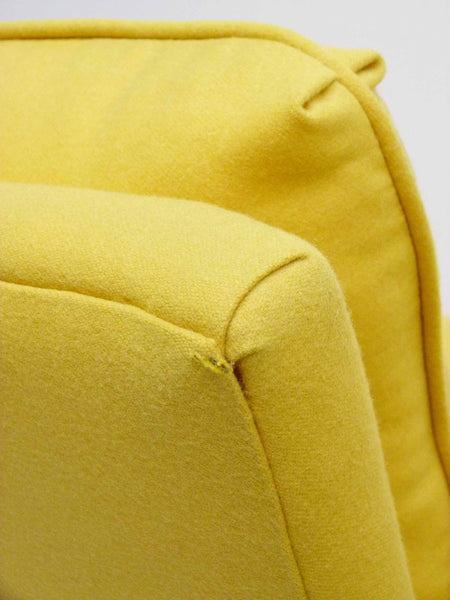 Yellow parson armchairs Milo Baughman Thayer Coggin Upholstered Scuff