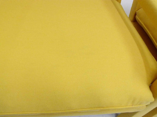Yellow parson armchairs Milo Baughman Thayer Coggin Upholstered cushion