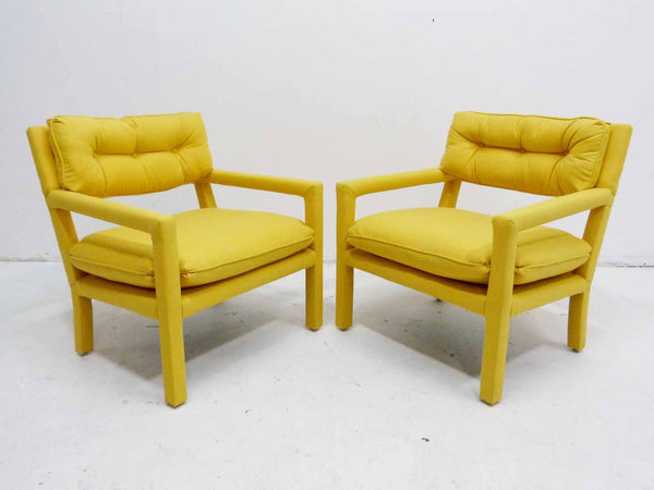 Yellow parson armchairs Milo Baughman Thayer Coggin Upholstered Front Angle