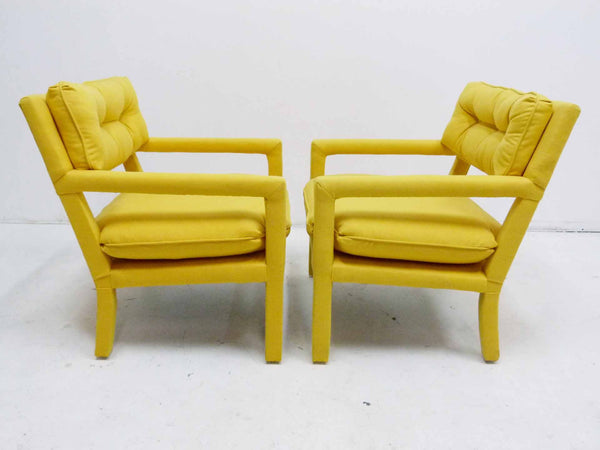 Yellow parson armchairs Milo Baughman Thayer Coggin Upholstered Right Side