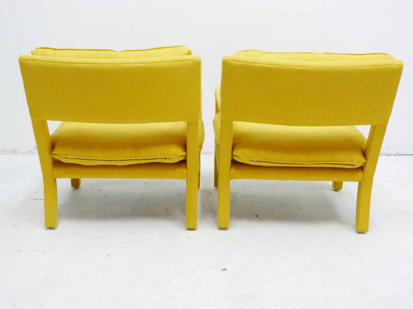 Yellow parson armchairs Milo Baughman Thayer Coggin Upholstered Back