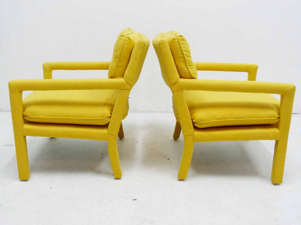 Yellow parson armchairs Milo Baughman Thayer Coggin Upholstered Left Side