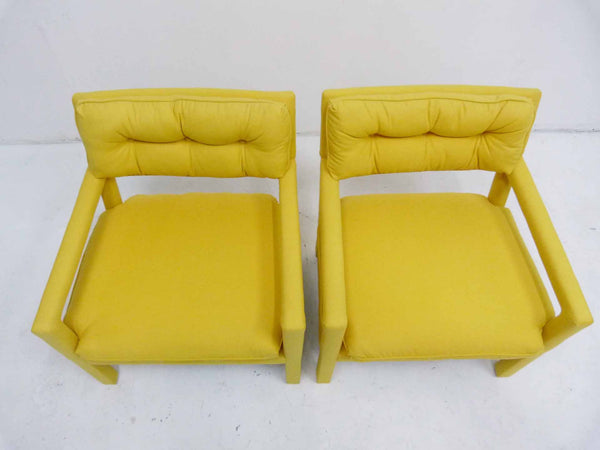 Yellow parson armchairs Milo Baughman Thayer Coggin Upholstered Overview