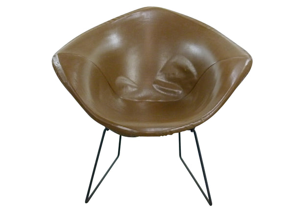 Diamond Chair Black Brown Leather Harry Bertoia Knoll 1