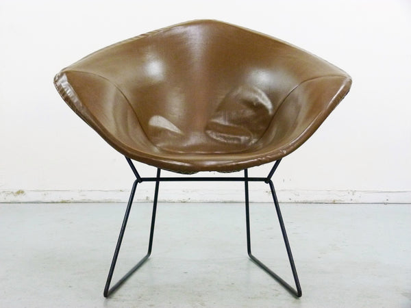 Diamond Chair Black Brown Leather Harry Bertoia Knoll 2