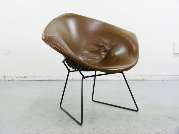 Diamond Chair Black Brown Leather Harry Bertoia Knoll 3