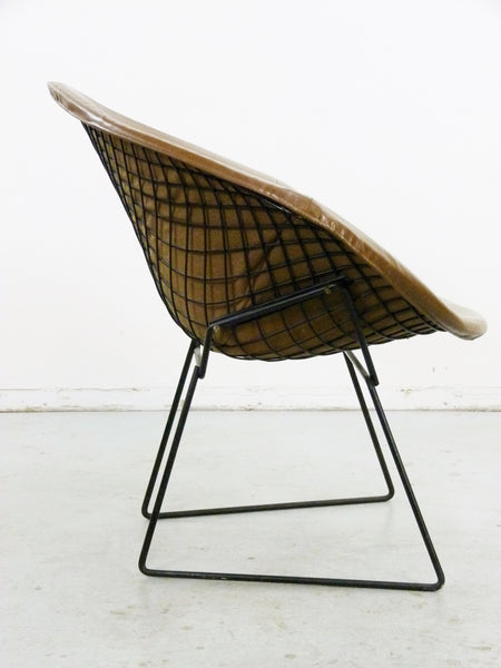 Diamond Chair Black Brown Leather Harry Bertoia Knoll 4