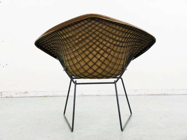 Diamond Chair Black Brown Leather Harry Bertoia Knoll 5