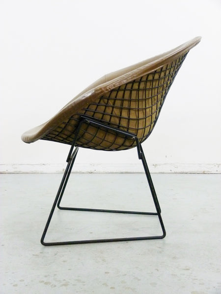 Diamond Chair Black Brown Leather Harry Bertoia Knoll 6