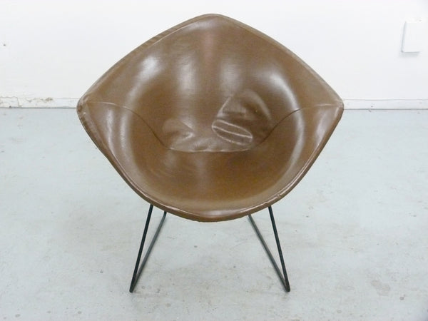 Diamond Chair Black Brown Leather Harry Bertoia Knoll 7
