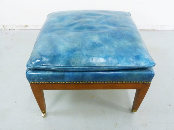 Blue Leather Wood Frame Ottoman