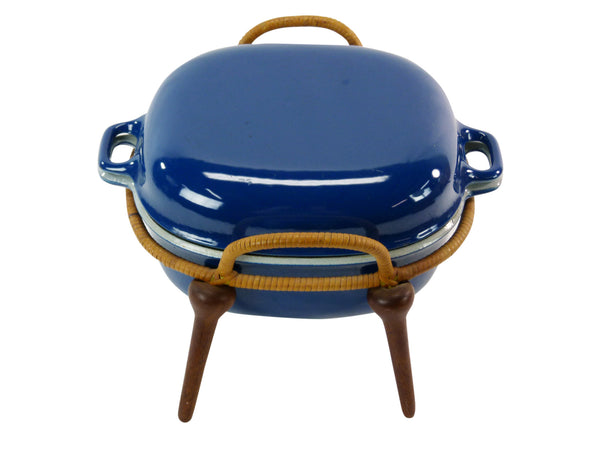 Jens Quistgaard Anchor-Line Blue Casserole Pan w/ Stand 2