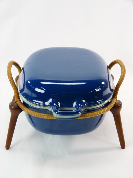 Jens Quistgaard Anchor-Line Blue Casserole Pan w/ Stand 3
