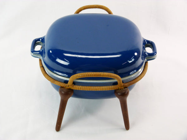 Jens Quistgaard Anchor-Line Blue Casserole Pan w/ Stand 5