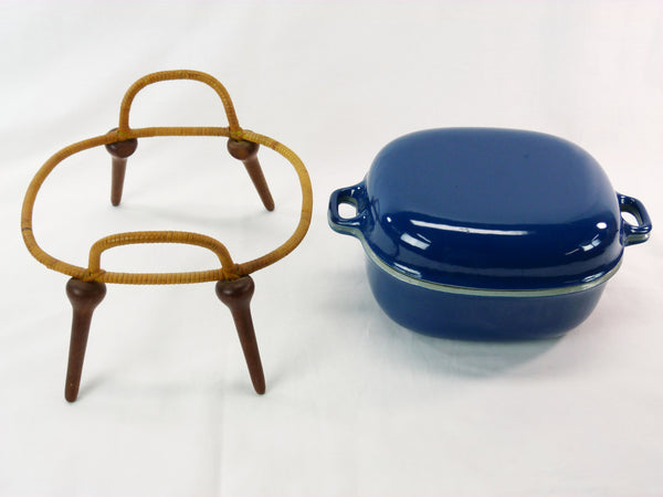 Jens Quistgaard Anchor-Line Blue Casserole Pan w/ Stand 7