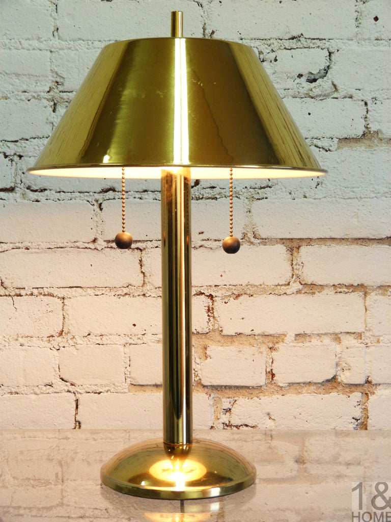 Brass Mid Century Table Pull Chain Desk Lamp One And