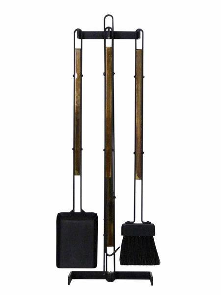 Modernist Brass & Wrought Iron Fireplace Tool Set 1