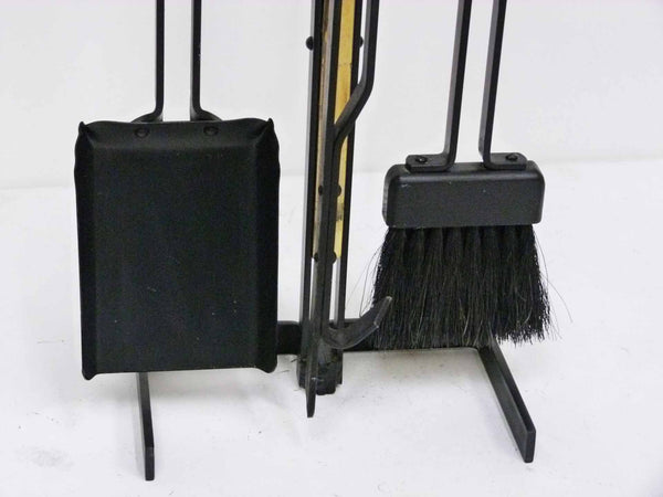 Modernist Brass & Wrought Iron Fireplace Tool Set 6