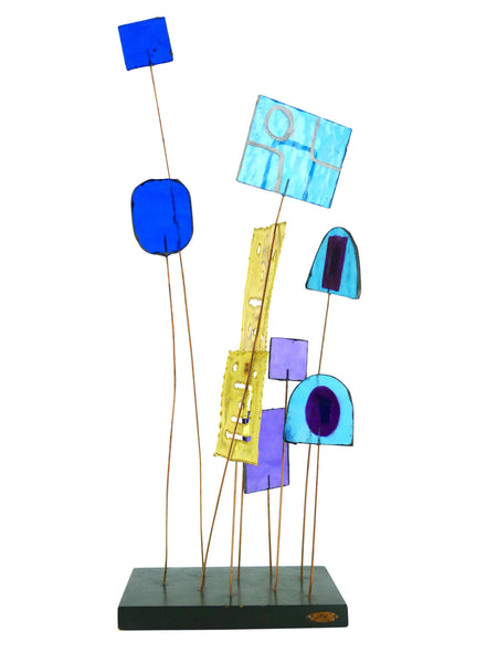 Kinetic Sculpture by Curtis Jere C Stained Glass Table Sculpture Mid-Century Vintage Img 1