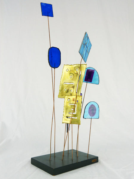 Kinetic Sculpture by Curtis Jere C Stained Glass Table Sculpture Mid-Century Vintage Img 2