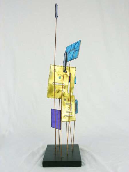 Kinetic Sculpture by Curtis Jere C Stained Glass Table Sculpture Mid-Century Vintage Img 3