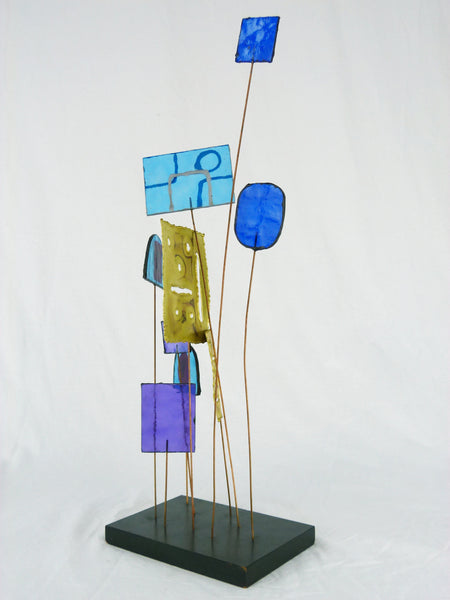 Kinetic Sculpture by Curtis Jere C Stained Glass Table Sculpture Mid-Century Vintage Img 4