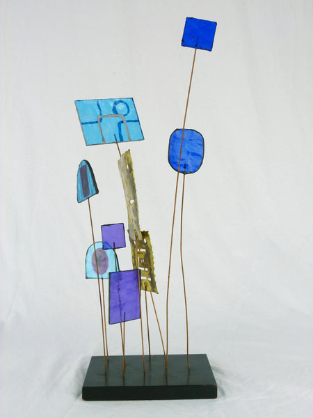 Kinetic Sculpture by Curtis Jere C Stained Glass Table Sculpture Mid-Century Vintage Img 5