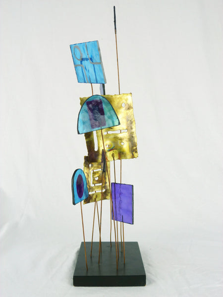 Kinetic Sculpture by Curtis Jere C Stained Glass Table Sculpture Mid-Century Vintage Img 6