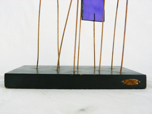 Kinetic Sculpture by Curtis Jere C Stained Glass Table Sculpture Mid-Century Vintage Img 7