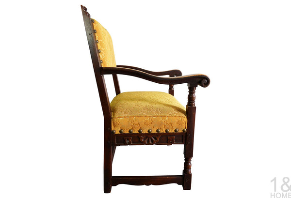 Hand-Carved Vintage Spanish Armchair Img 2