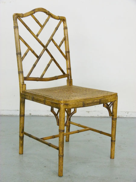 Faux Bamboo Vintage Chinese Chippendale Cane Dining Chairs 10